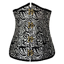 Womens Victorian Flower Flock Jacquard  Corset with Panty