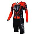 KOOPLUS - Triatlón Rojo  Negro Lobo de manga larga del desgaste y los cortocircuitos Conjoined ropa de ciclo