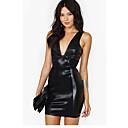 2014 mujeres de la manera de cuero Negro Bodycon vestido del vendaje del mini vestido ocasional 9068