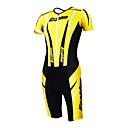KOOPLUS - Triatlón Amarillo  Negro de manga corta y pantalones cortos desgaste Conjoined ropa de ciclo