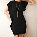 Elegante color sólido mangas cortas se viste de mujer Muze