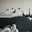 Landscape Birds the Love the Eiffel Tower Wall Stickers