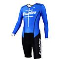 KOOPLUS - Triatlón Negro  azul de manga larga del desgaste y los cortocircuitos Conjoined ropa de ciclo