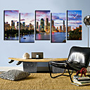 Modern Style City Scene Wall Clock in Canvas 5pcs