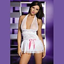 Stretch Lace and Soft Tulle Babydoll with Halter Neck Pink Bow and Matching Thong