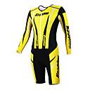 KOOPLUS - Triatlón Amarillo  Negro de manga larga del desgaste y los cortocircuitos Conjoined ropa de ciclo
