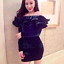 Womens Off The Shoulder Ruffle Side Bodycon Dress
