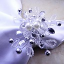 Crystal Pearl Floral Napkin Ring, Acrylic, 4.5cm, Set of 12