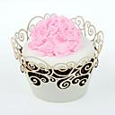 12pcs de silicona floral blanca envoltura de la magdalena, corte del laser, del partido / de la boda / cumpleaños decoración del favor
