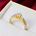 High Quality Classic Gold Plated Clear Rhinestone Flower Shaped Womens Ring