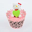 12pcs de silicona Pink Flower envoltura de la magdalena, corte del laser, del partido / de la boda / cumpleaños decoración del favor
