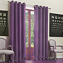 (Two Panels) Neoclassical Purple Solid Cotton/Ploy Blend Eco-friendly Curtain