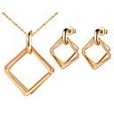 Sans - Jewelry Set Simple argent plaqué argent Boucles carrés femmes (y compris le collier, boucles d'oreilles) (or, argent) pas cher