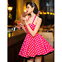 TS Vintage Halter Polka Dots Swing Dress