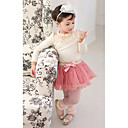 Girls Bowknot Puff Sleeve Pearl Sweet Clothing Sets