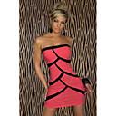 Rayas de la Mujer QSMX Mención Hip Bandeau Vestido atractivo del club (Fuchsia)