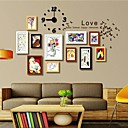 Black White Brown Wood Color Photo Wall Frame Collection Set of 11 with DIY a Wall Clock