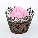 12pcs Silicone Brown Butterfly Cupcake Wrapper, Laser Cut, Party/Wedding/Birthday Favor Decoration