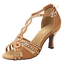 Womens Satin Rhinestone Ankle Strap Sandals Latin Dance Shoes