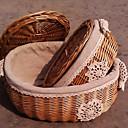 De Grany Punto Flor oval hecho a mano de mimbre canasta de almacenaje con tapa - One Piece