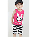 Boy's Pertty Rabbit Print Stripes Casual Clothing Sets
