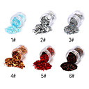 1PCS Hexagonal Glitter Tabletas Decoración de uñas NO.1-6 (colores surtidos)