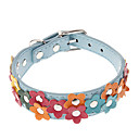 Adjustable PU Leather Flower Pattern Collar for Pets Dogs (Assorted Colors)