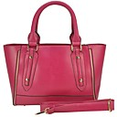 Womens  Fashion Front Zip Detail Tote Bag PU Leather Shoulder Bags