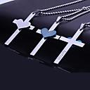 Collar colgante personalizado Regalo del acero inoxidable del corazón Biblia cruz grabada con 60cm Cadena