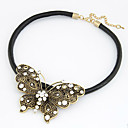 Womens Euramerican Retro Punk Style Metallic Butterfly Pandent Necklace