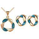 Sans - Jewelry Set élégant en argent plaqué Argent Green Twist Cercle des femmes (y compris le collier, boucles d'oreilles) (or, argent) pas cher