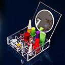 acrílico caja de almacenamiento de cosméticos 3x4 cuadrado transparente con espejo cosmético del organizador