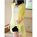 Womens Solid Color Splicing with Chiffon Cardigan