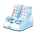 Blue And Pink Bowknot Sweet Lolita PU Leather 4cm High-heeled Shoes