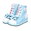 Azul Y Rosa Bowknot Sweet Lolita de la PU de 4 cm de cuero zapatos de tacón alto