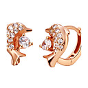 Elegant Gold Or Silver Plated With Cubic Zirconia Dolphin Womens Earrings(More Colors)