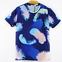 Mens Funny 3D Short Sleeve T Shirt with Feather Printed