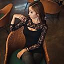 Atractivo de las mujeres de la impresión floral de encaje Negro T-shirt