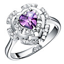 luxuriant Sliver Purple With Cubic Zirconia Heart Cut Womens Ring(1 Pc)