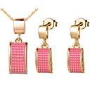Sans - Jewelry Set Mode argent plaqué argent rectangle rose femmes (y compris le collier, boucles d'oreilles) (or, argent) pas cher