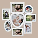 Heart Round Oval Conjoined White ABS Photo Wall Frame Collection Set of 8