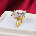 High Quality Delicate Gold Plated Clear Rhinestone Square Womens Ring