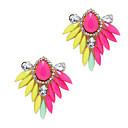 Canlyn Womens Sweet Colorful Leaf Diamond And Gem Stud Earrings