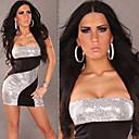 Mujeres QSMX Sexy Unique Coating Mención Sexy Hip Bandeau vestido del club (Plata)