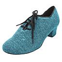 Womens Sparkling Glitter Chuncky Heel Ballroom Modern Dance Shoes