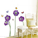 1PCS Mariposas coloridas sobre Flores Enviromental etiqueta de la pared