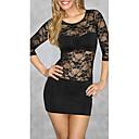 Zoey Womens Lace Print Sexy Black Dress