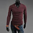 camisa de manga larga de los hombres de moda Urun v cuello delgado (rojo)