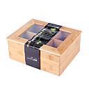6 Sections Tea Box, Bamboo W13.3cm x L22cm x H9.2cm
