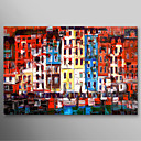 Hand Painted Oil Painting Landscape Modern Buildings with Stretched Frame Ready to Hang